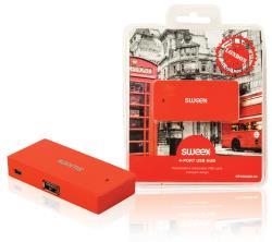 Sweex NPUS0480-03 4-poorts USB-hub London rood