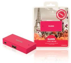 Sweex NPUS0480-09 4-poorts USB-hub Paris fuchsia