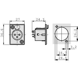 Neutrik  XLR Panel-mount female receptacle 5 P soldeer connectie Vernikkeld