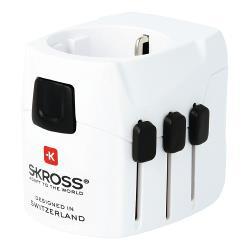 Skross 1.302540 Reisadapter Wereld PRO+ USB Geaard