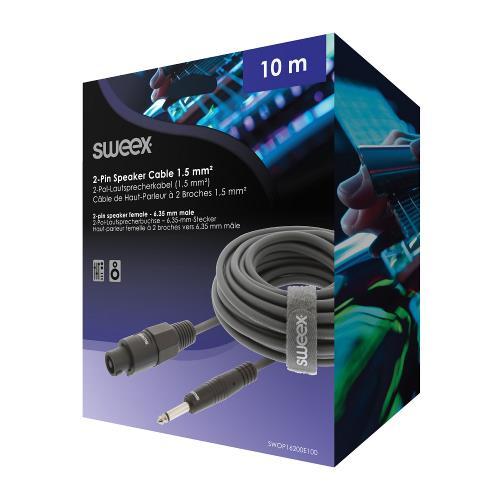 Sweex SWOP16200E100 Luidsprekerkabel Speaker 2-Pins Female - 6.35 mm Male 10.0 m Donkergrijs