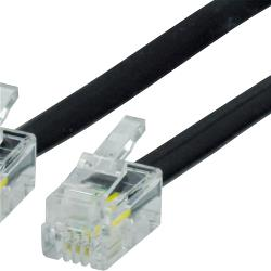 Valueline VLTP90101B10 Telefoonkabel RJ10 (4/4) Male - RJ10 (4/4) Male Plat 1.00 m Zwart