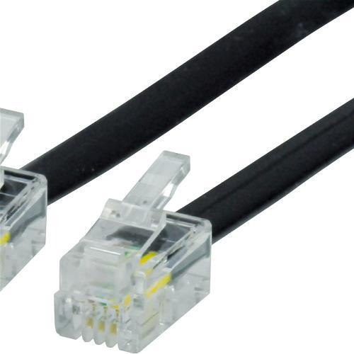 VLTP90101B50 Telefoonkabel RJ10 4/4 Male - RJ10 4/4 Male Plat 5.00 m Zwart