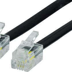 Valueline VLTP90101B100 Telefoonkabel RJ10 (4/4) Male - RJ10 (4/4) Male Plat 10.0 m Zwart