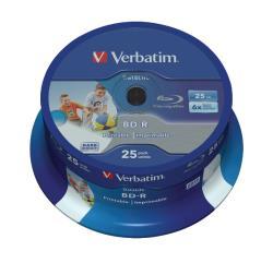 Verbatim 43811 BD-R SL Datalife 25GB* 6x Wide Inkjet Printable 25 Pack Spindle