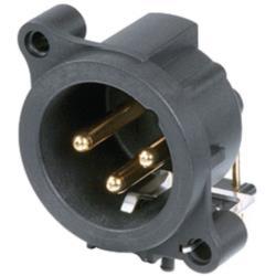 Neutrik NC3MAH XLR Panel-mount male receptacle 3 N/A A Horizontaal / PCB Mounting Zwart