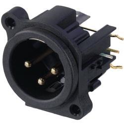 Neutrik NC3MAHR XLR Panel-mount male receptacle 3 N/A A Right Angle / PCB Mounting Zwart