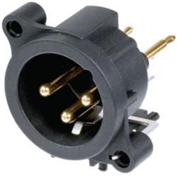 Neutrik NC3MAV XLR Panel-mount male receptacle 3 N/A A Verticaal / PCB Mounting Zwart
