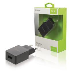 Sweex CH-019BL Lader 1 - Uitgang 2.4 A USB Zwart