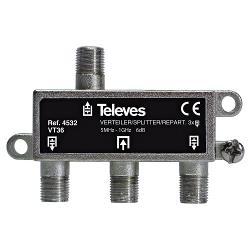 Televés 3144532 CATV-Splitter 6 dB / 5-1000 MHz - 3 Uitgangen