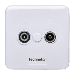 Technetix 11200200 Antenne Wandcontactdoos Coax TV & Radio Wit 2 Uitgangen Wit