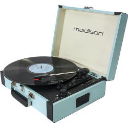Madison MAD-RETROCASE-BLU Vintage draaitafelkoffer met bluetooth, usb, sd & rec functie (0)