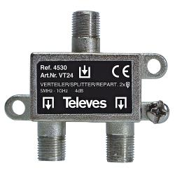 Televés 3144530 CATV-Splitter 4 dB / 5-1000 MHz - 2 Uitgangen
