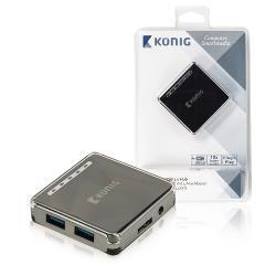 Valueline CSU3H4P100BL 4 Poorten Hub USB 3.0 Zwart