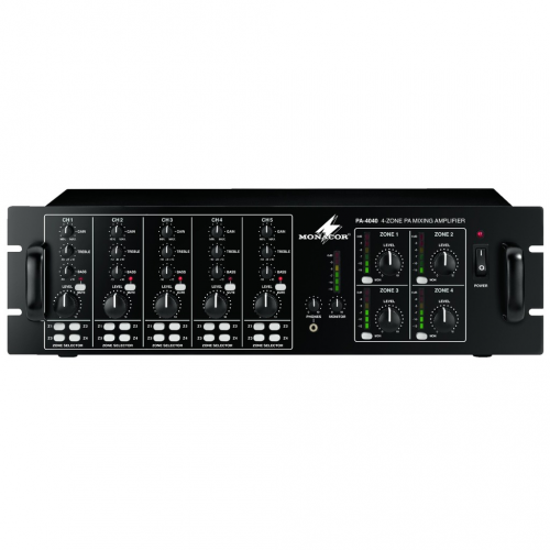 Monacor PA-4040 4-zone rack mixer 4x 40W 100V