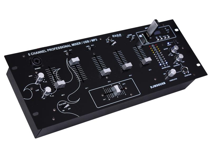 "Ibiza Sound DJM90USB-BT 19"" mixer met usb/sd speler + bluetooth (1)"