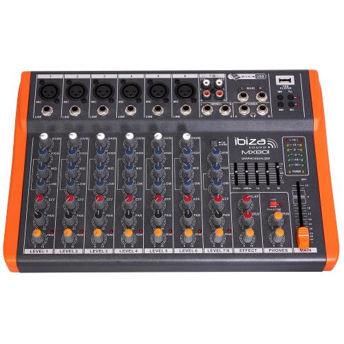 Ibiza Sound MX801 Compacte 8-kanaals muziek mengpaneel (1)