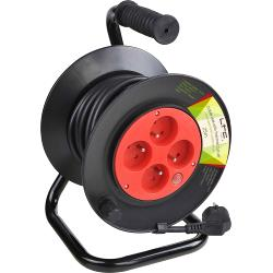 LTC Power CABLE-REEL25M Kabelwiel met 4 stopcontactdozen & overspanningsbeveiliging - 25m (1)