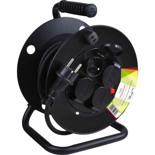 LTC Power CABLE-REEL25M-WP Kabelwiel met 4 stopcontactdozen & overspanningsbeveiliging - 25m (1)