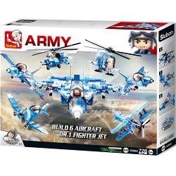 Sluban M38-B0665 Bouwstenen Army Serie Army Fighter Jet 6 into 1