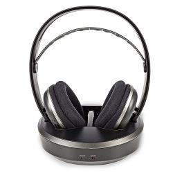 Nedis HPRF210BK Draadloze hoofdtelefoon | Radiofrequentie (RF) | Over-ear | Oplaadstation | Zwart / zilver