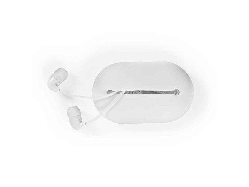Nedis HPWD1020WT Hoofdtelefoon met snoer | In het oor | Reisbuidel | 1,2 m platte kabel | Wit