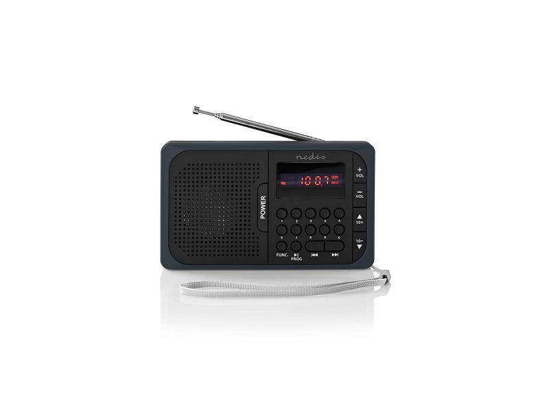 Nedis RDFM2100GY FM-radio | 3,6 W | USB-poort & microSD-kaartsleuf | Zwart / grijs