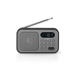 Nedis RDFM2200BK FM-radio | 2,1 W | Klok & alarm | Grijs / zwart