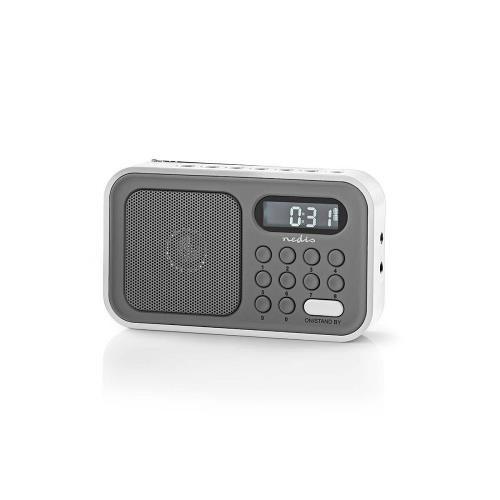 Nedis RDFM2200WT FM-radio | 2,1 W | Klok & alarm | Grijs / wit