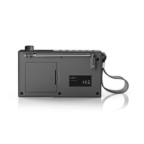 Nedis RDFM2210BK FM-radio | 2,1 W | Klok & alarm | Multifunctionele draaiknop | Grijs / zwart
