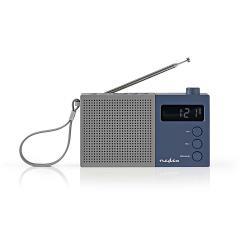 Nedis RDFM2210BU FM-radio | 2,1 W | Klok & alarm | Multifunctionele draaiknop | Grijs / blauw
