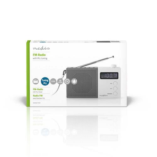 Nedis RDFM2210WT FM-radio | 2,1 W | Klok & alarm | Multifunctionele draaiknop | Grijs / wit