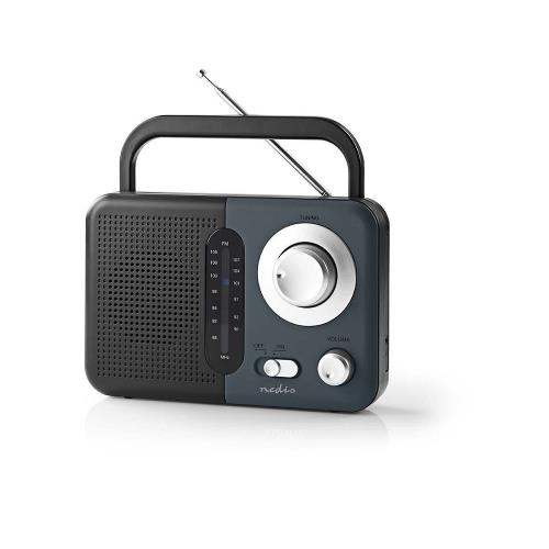 Nedis RDFM1300GY FM-radio | 2,4 W | Draaggreep | Zwart / grijs