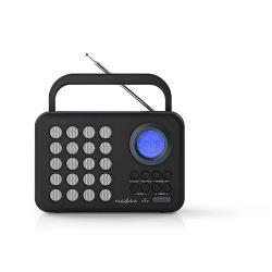 Nedis RDFM1310GY FM-radio | 3 W | Klok & alarm | USB-poort & microSD-kaartsleuf | Zwart / grijs