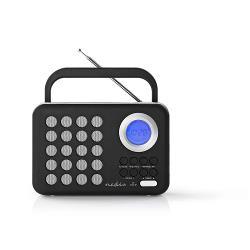 Nedis RDFM1310WT FM-radio | 3 W | Klok & alarm | USB-poort & microSD-kaartsleuf | Zwart / wit