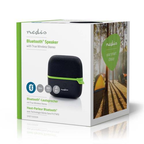 Nedis SPBT1000GN Luidspreker met Bluetooth® | 15 W | True Wireless Stereo (TWS) | Zwart / groen