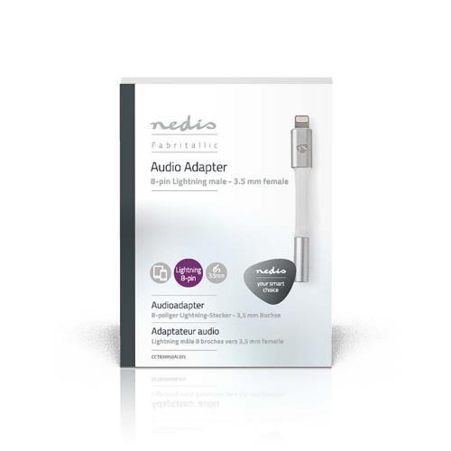 Nedis CCTB39950AL015 Apple Lightning-adapter | Apple Lightning 8-pins male - 3,5 mm female | 0,15 m | Aluminium