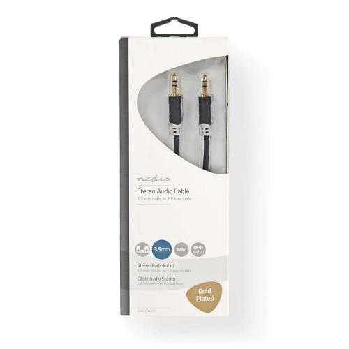 Nedis CABW22000AT50 Stereo audiokabel | 3,5 mm male - 3,5 mm male | 5,0 m | Antraciet