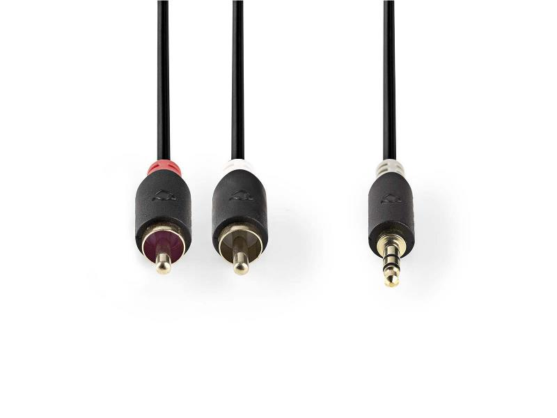 Nedis CABW22200AT50 Stereo audiokabel   3,5 mm male - 2x RCA male   5,0 m   Antraciet