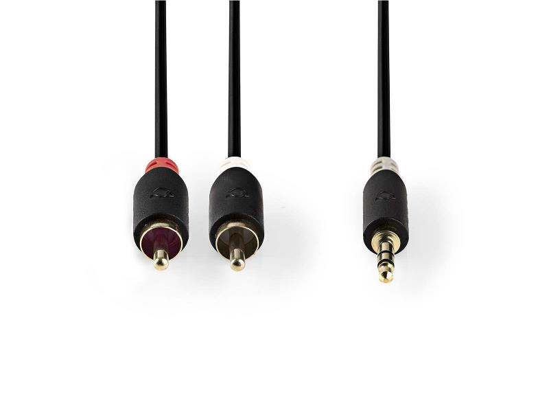 Nedis CABP22200AT10 Stereo audiokabel | 3,5 mm male - 2x RCA male | 1,0 m | Antraciet