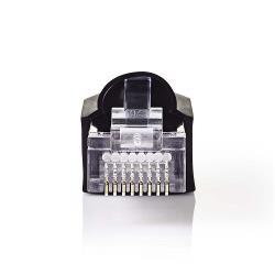 Nedis CCGP89350BK Netwerkconnector-Set   RJ45 Male + Trekontlasting - Voor Solid Cat5 UTP-Kabels   10 Stuks   Zwart