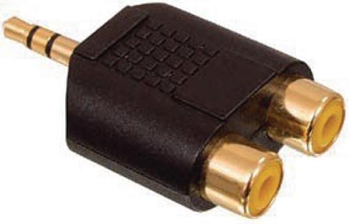 AC-010GOLD Adapter plug 3.5mm stereo stekker - 2x RCA kontra stekker met vergulde kontakten