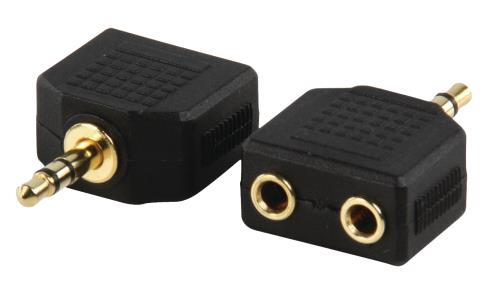 AC-012GOLD Adapter plug 3.5mm stereo stekker - 2x 3.5mm stereo kontra stekker met vergulde kontakten