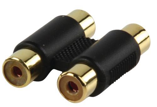 AC-027GOLD Adapter plug 2x RCA kontra stekker - 2x RCA kontra stekker met vergulde kontakten