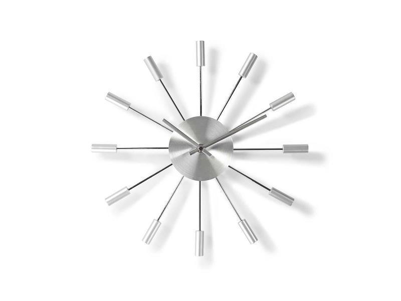 Nedis CLWA004MT34 Ronde wandklok   Diameter 34 cm   Zilver