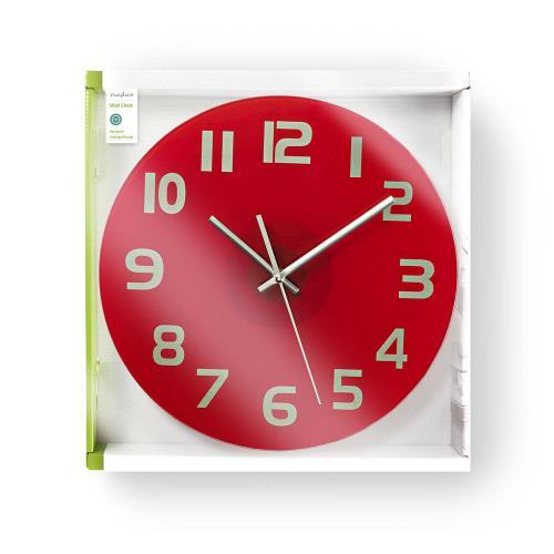 Nedis CLWA006GL30RD Ronde wandklok | Diameter 30 cm | Eenvoudig te lezen cijfers | Helder-rood