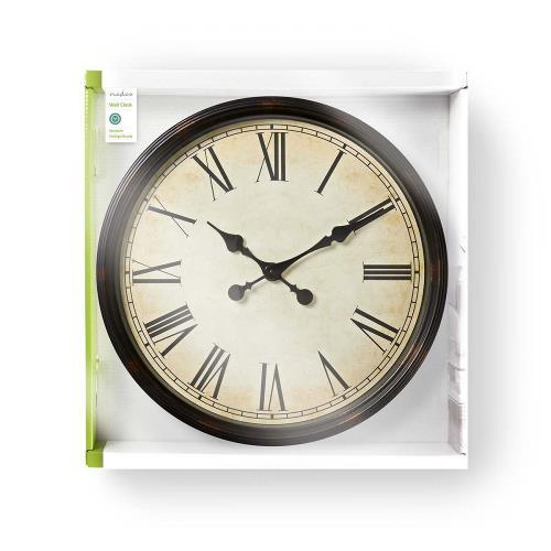 Nedis CLWA008WD50BK Ronde wandklok | Diameter 50 cm | Antieken stijl | Zwart