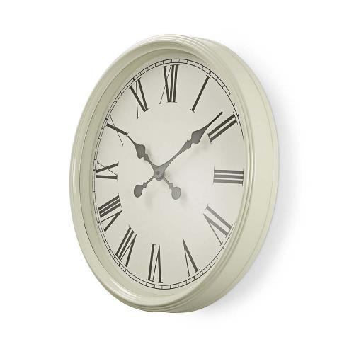 Nedis CLWA008WD50WT Ronde wandklok | Diameter 50 cm | Antieken stijl | Wit