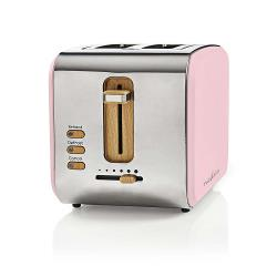 Nedis KABT510EPK Broodrooster | 2 brede sleuven | Soft-touch | Roze