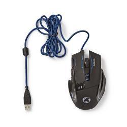 Nedis GMWD300BK Gaming-muis | Met kabel | Verlicht | 3200 dpi | 8 knoppen